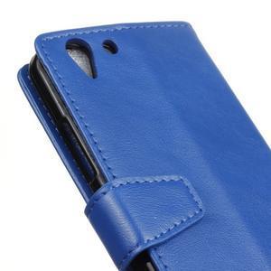 Knížkové PU kožené puzdro pre Lenovo Vibe K5 / K5 Plus - modré - 7