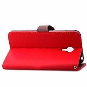 Knížkové PU kožené puzdro pre Meizu M3 note - červené - 7