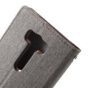 Canvas textilné/PU kožené puzdro pre Asus Zenfone 2 Laser - šedé - 7