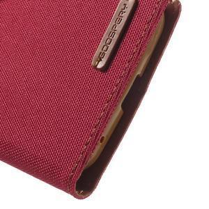 Canvas textilní/PU kožené puzdro na Asus Zenfone 2 Laser - červené - 7