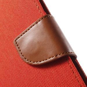 Canvas textilní/PU kožené puzdro na Asus Zenfone 2 Laser - oranžové - 7
