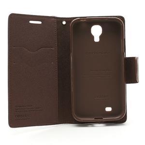 Fancy peňaženkové puzdro pre Samsung Galaxy S4 - čierné/hnedé - 7