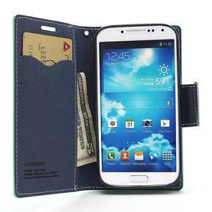 Fancy peňaženkové puzdro na Samsung Galaxy S4 -  azurové - 7