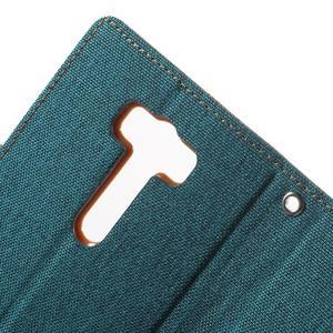 Canvas textilné/PU kožené puzdro pre Asus Zenfone 2 Laser - zelenomodré - 7