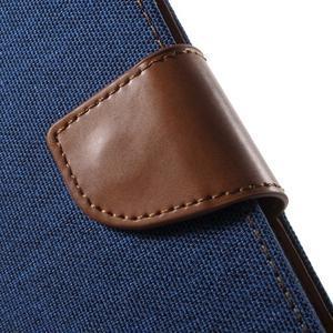 Canvas textilní/PU kožené puzdro na Asus Zenfone 2 Laser - modré - 7