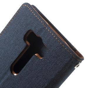 Canvas textilní/PU kožené puzdro na Asus Zenfone 2 Laser - tmavo modré - 7