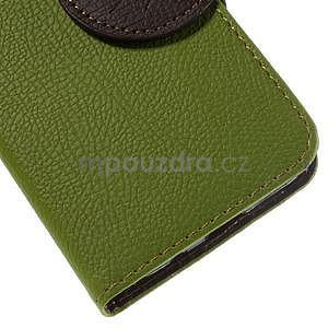 Zelené/hnedé peňaženkové puzdro pre Samsung Galaxy Core Prime - 7