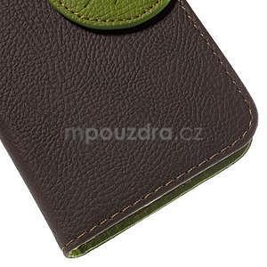 Hnedé/zelené peňaženkové puzdro pre Samsung Galaxy Core Prime - 7