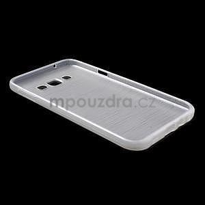 Broušený gélový obal pre Samsung Galaxy E7 - biely - 7