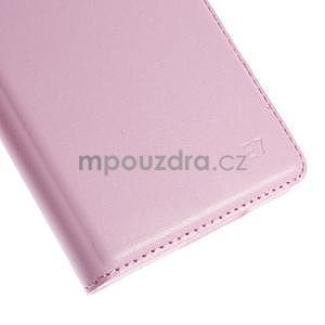 Kožené peňaženkové puzdro s okienkom - ružové - 7