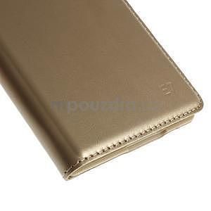 Kožené peňaženkové puzdro s okienkom - zlaté - 7