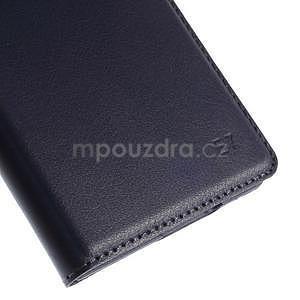 Kožené peňaženkové puzdro s okienkom - tmavo modré - 7