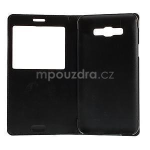 Kožené pěněženkové puzdro s okýnkem - čierné - 7