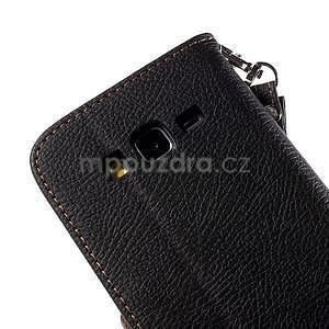 Čierné/hnedé zapínací peňaženkové puzdro na Samsung Galaxy Grand Prime - 7