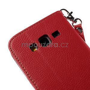 Červené/hnedé zapínací peňaženkové puzdro na Samsung Galaxy Grand Prime - 7