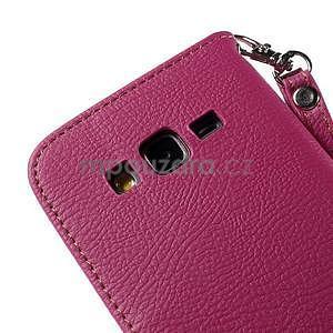 Rose/hnedé zapínací peňaženkové puzdro na Samsung Galaxy Grand Prime - 7