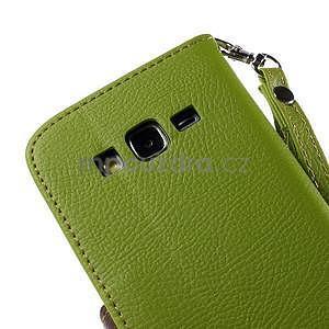 Zelené/hnedé zapínací peňaženkové puzdro na Samsung Galaxy Grand Prime - 7