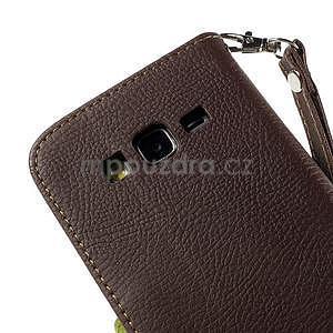 Hnedé/zelené zapínací peňaženkové puzdro pre Samsung Galaxy Grand Prime - 7