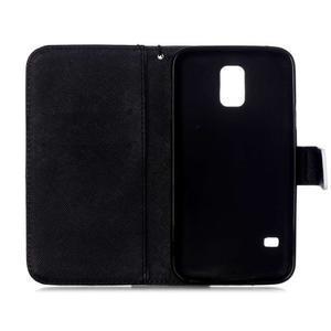 Knížkové PU kožené puzdro pre Samsung Galaxy S5 - káčer - 7