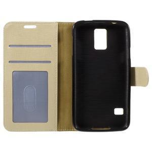 Clothy Pu kožené puzdro pre Samsung Galaxy S5 - champagne - 7