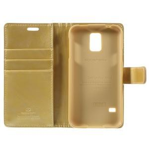 Bluemoon PU kožené pouzdro na Samsung Galaxy S5 - zlaté - 7