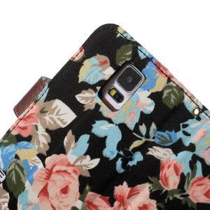 Květinové pouzdro na mobil Samsung Galaxy S5 - černé pozadí - 7