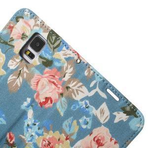 Kvetinové puzdro pre mobil Samsung Galaxy S5 - modré pozadie - 7