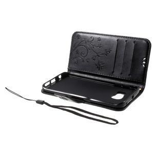 Butterfly PU kožené puzdro pre mobil Samsung Galaxy S6 Edge - čierne - 7