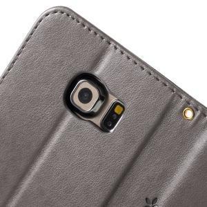 Butterfly PU kožené pouzdro na mobil Samsung Galaxy S6 Edge - šedé - 7