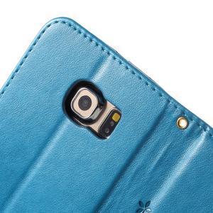 Butterfly PU kožené puzdro pre mobil Samsung Galaxy S6 Edge - modré - 7