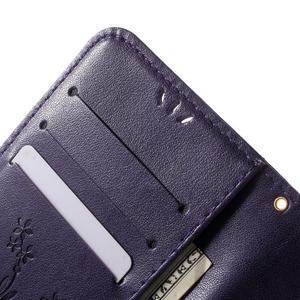 Butterfly PU kožené puzdro pre mobil Samsung Galaxy S6 Edge - fialové - 7