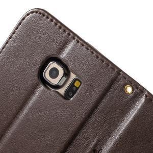 Butterfly PU kožené puzdro pre mobil Samsung Galaxy S6 Edge - coffee - 7