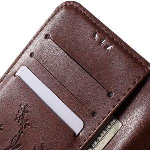 Butterfly PU kožené puzdro pre mobil Samsung Galaxy S6 Edge - hnedé - 7