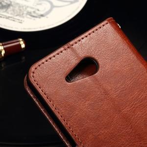 Horse PU kožené puzdro pre mobil Sony Xperia E4g - hnedé - 7