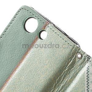 Zapinací pouzdro s mašličkou na Sony Xperia Z3 Compact - azurové - 7