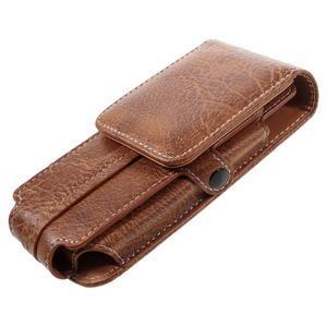 Cestovní PU kožené peněženkové pouzdro do rozměru 150 x 73 x 15 mm - hnědé - 7