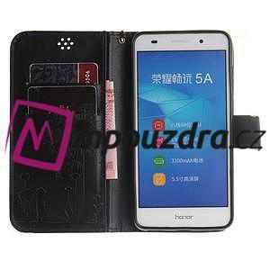 Dandelion PU kožené puzdro pre Huawei Y6 II a Honor 5A - čierné - 7