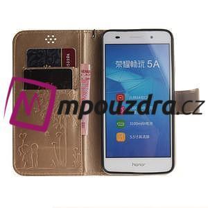 Dandelion PU kožené puzdro pre Huawei Y6 II a Honor 5A - zlaté - 7