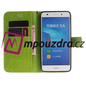 Dandelion PU kožené puzdro na Huawei Y6 II a Honor 5A - zelené - 7