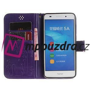 Dandelion PU kožené puzdro na Huawei Y6 II a Honor 5A - fialové - 7