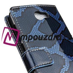 Peněženkové pouzdro s hadím motivem na Huawei Y6 II Compact - modré - 7