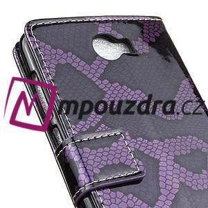 Peňaženkové puzdro s hadím motívom na Huawei Y6 II Compact - fialové - 7
