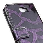 Peňaženkové puzdro s hadím motívom na Huawei Y6 II Compact - fialové - 7/7