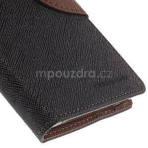 Kožené peňaženkové puzdro na Nokia Lumia 830 - čierné/hnedé - 7