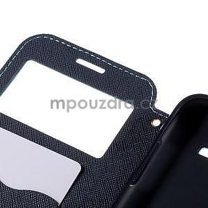 PU kožené puzdro s okienkom pro Samsung Galaxy J5 - svetlo modré - 7