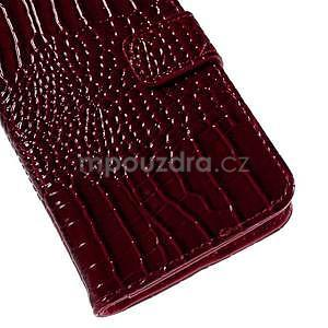 PU kožené puzdro s imitací krokodýlí kože Samsung Galaxy J5 - tmavo červené - 7