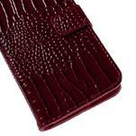 PU kožené puzdro s imitací krokodýlí kože Samsung Galaxy J5 - tmavo červené - 7/7