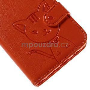 Peňaženkové puzdro s kočičkou Domi pre Samsung Galaxy J5 - oranžové - 7