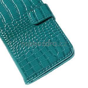 PU kožené pouzdro s imitací krokodýlí kůže Samsung Galaxy J5 - tyrkysové - 7