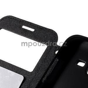 PU kožené pouzdro s okýnkem pro Samsung Galaxy J5 - černé - 7